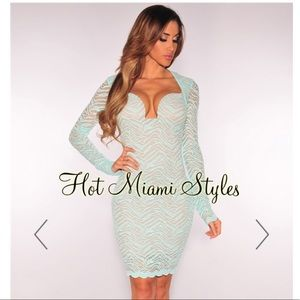 🎉Hot Miami Styles Mint Lace Nude Illusion Dress🎉